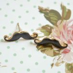 Black Moustache Stud Earrings