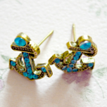 Blue Rhinestone Nautical Anchor Stud Earrings