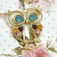 Bronze Coloured Owl Rhinestone Necklace
