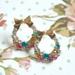 Circle Diamante Gem Rhinestone Bow Stud Earrings