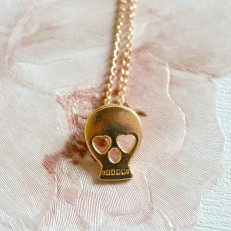 Dainty Gold Coloured Skull Necklace