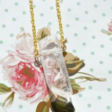 Gold Coloured Clear Crystal Necklace