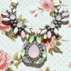 Pink Green and White Statement Necklace