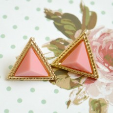 Pink and Gold Triangle Stud Earrings