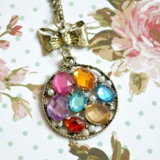 Rainbow Gem Disc Necklace