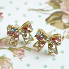 Rhinestone Diamante Gem Bow Stud Earrings