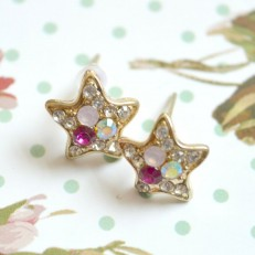 Rhinestone Gem Diamante Stud Star Earrings