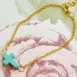 Turquoise Coloured Cross Bracelet