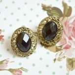 Vintage Style Black Gem Stone Stud Earrings