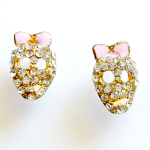 Diamante Rhinestone Gem Stud Skull Earrings