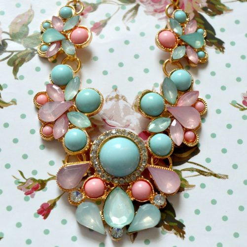 Baby Blue and Pink Statement Necklace