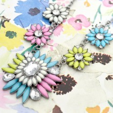 Pink White Yellow Blue Statement Necklace
