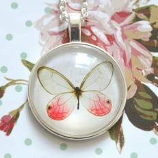 Silver Butterfly Glass Necklace