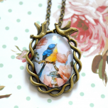 Vintage Style Blue and Yellow Bird Pendant Necklace