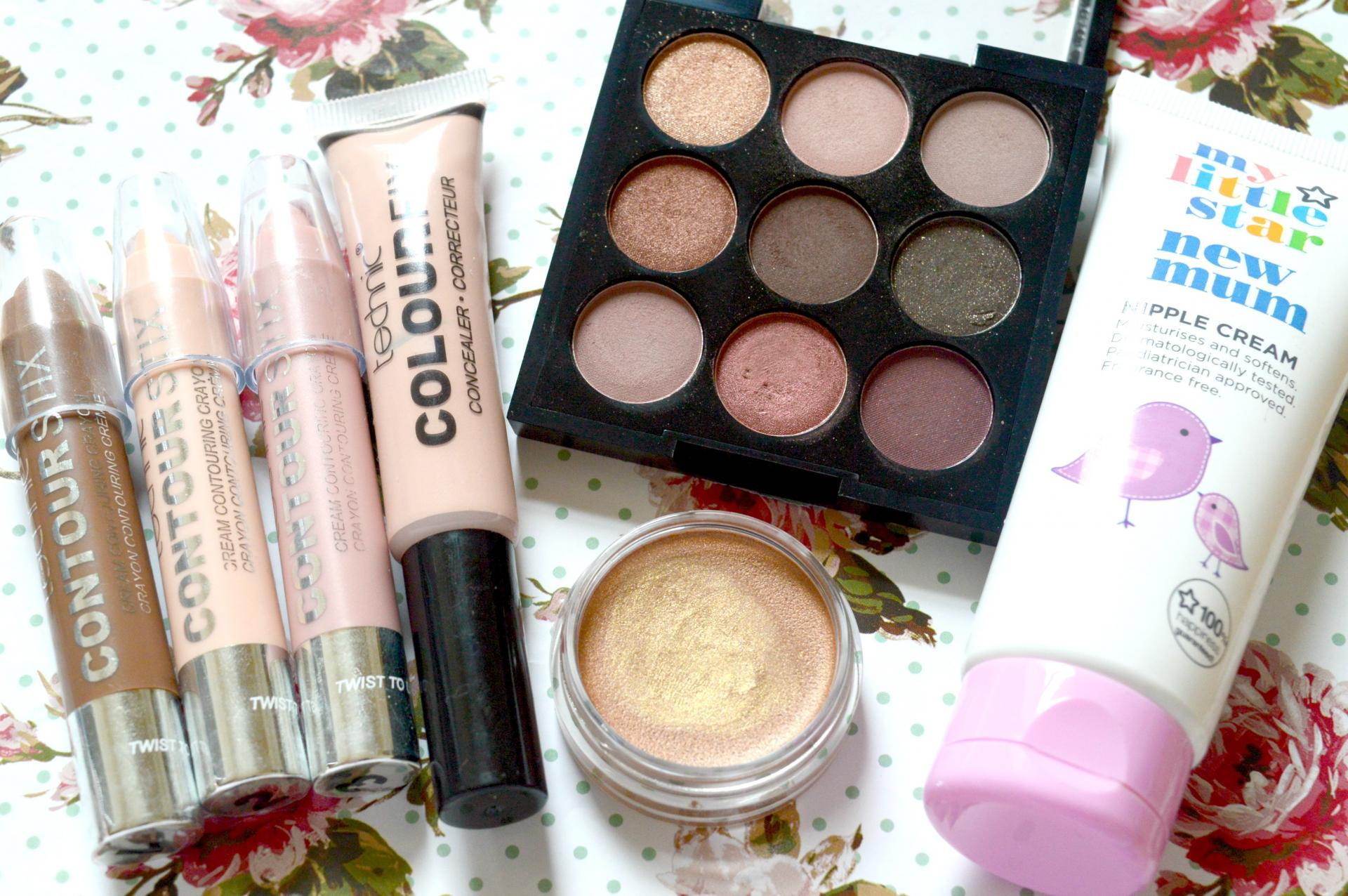 August 2016 Favourites | Technic Contour Stix, Technic Colour Fix Concealer, W7 The Naughty Nine Mid Summer Nights Palette, Bourjois 24H Colour Edition Cream To Powder Eyeshadow in Or Desir and Superdrug My Little Star New Mum Nipple Cream