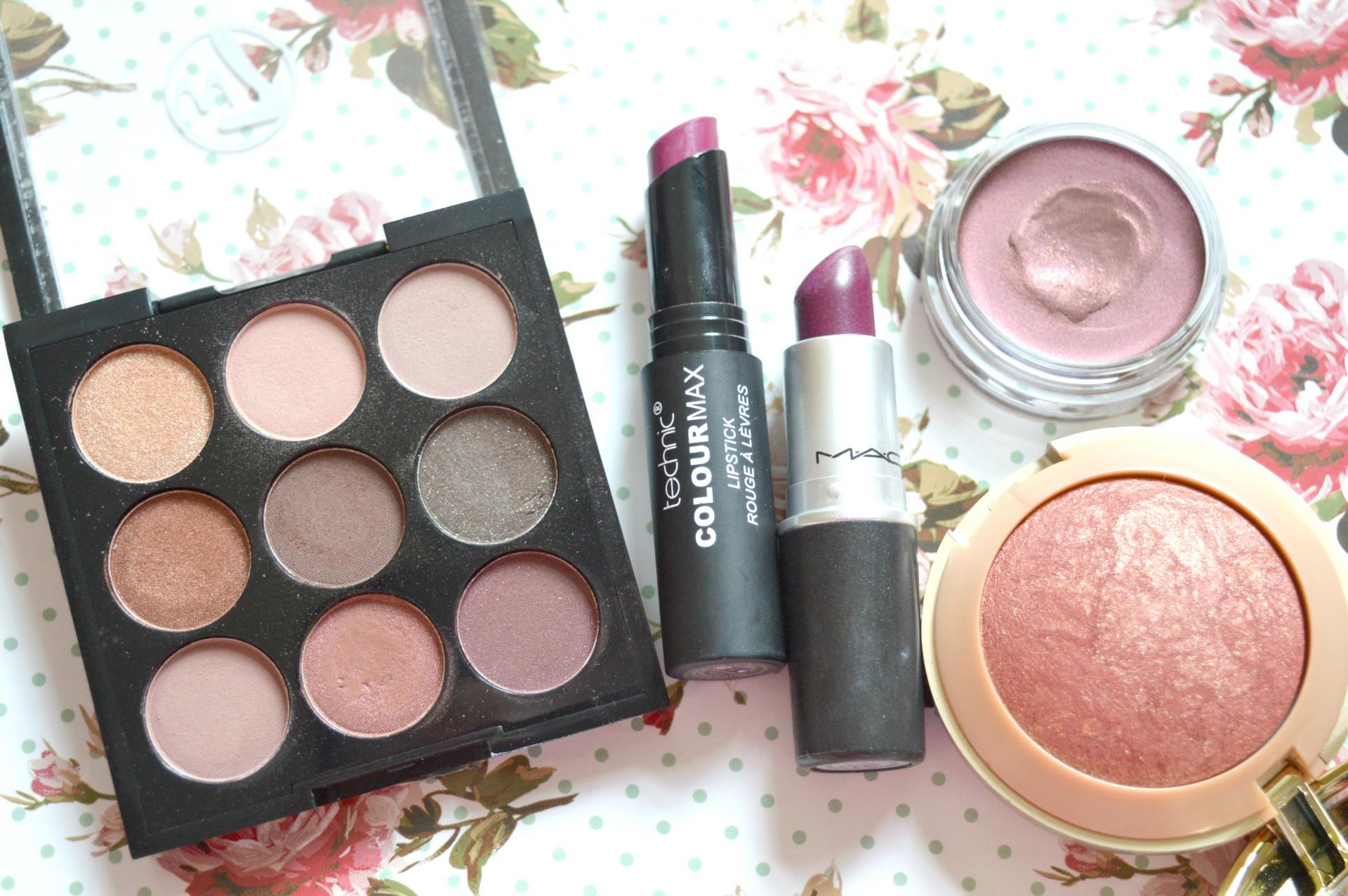 5 Really Awesome Makeup Products For Autumn   W7 The Naughty Nine Mid Summer Nights palette, Technic Colour Max Lipstick in Deep Purple, MAC Lipstick in Rebel, Bourjois 24H Color Edition Cream To Powder Eyeshadow in Prune Nocturne and Milani Baked Blush in Red Vino