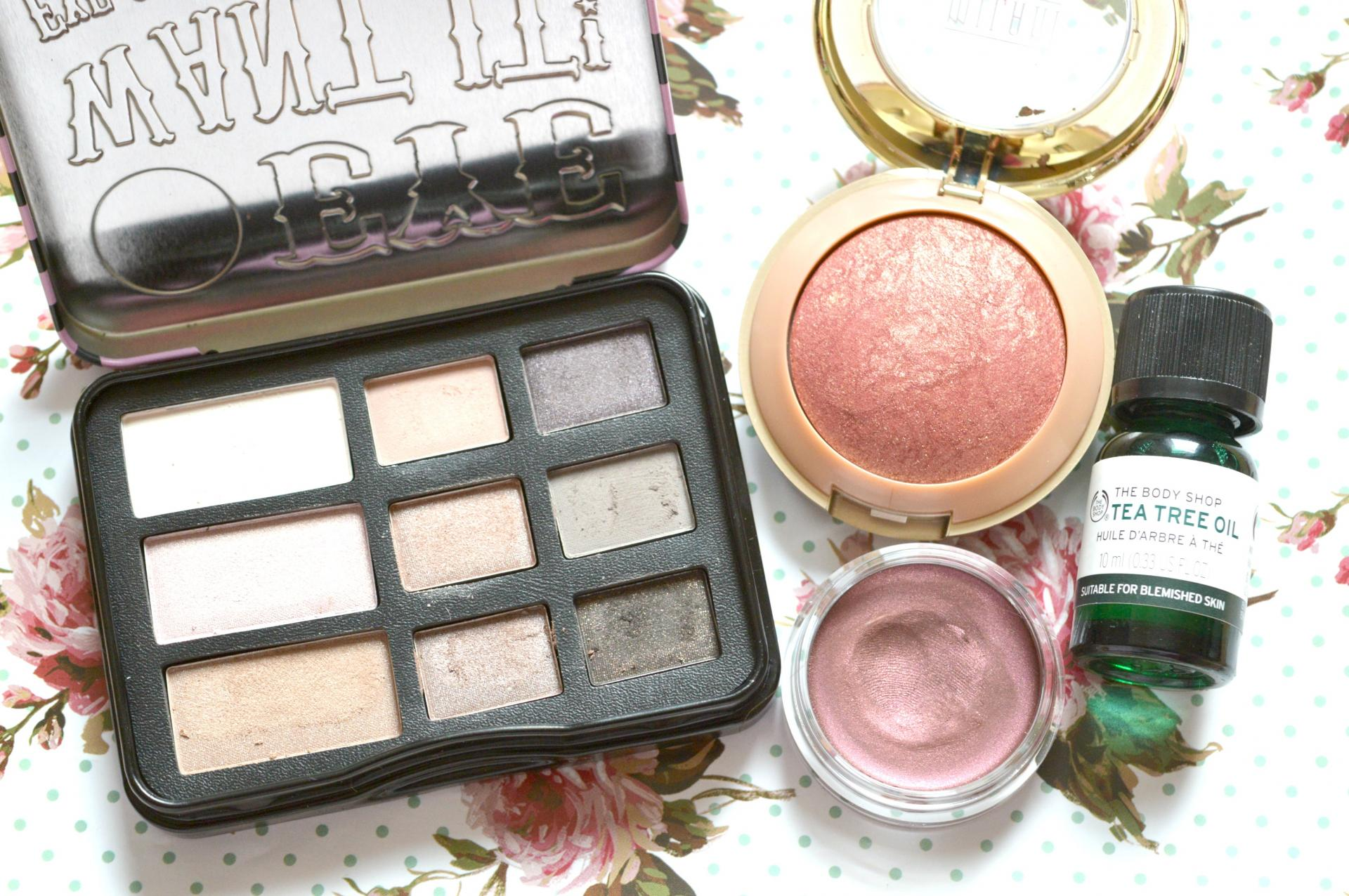 October 2016 Favourites | W7 Eye Want It Eyeshadow Collection, Bourjois 24H Color Edition Cream to Powder Eyeshadow in Prune Nocturne, The Body Shop Tea Tree Oil and Milani Baked Blush in Red Vino
