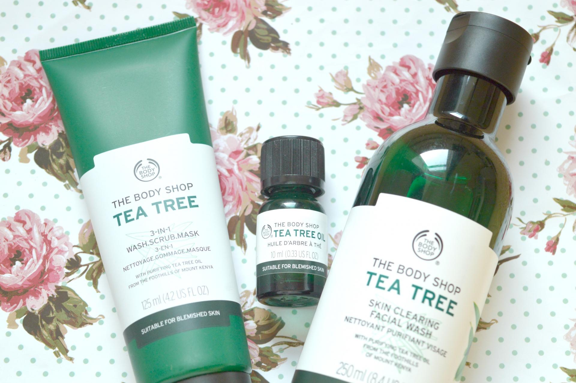 Perfect Spot Fighting Range? The Body Shop Tea Tree Range | The Body Shop Tea Tree 3-in-1 Wash Scrub Mask, The Body Shop Tea Tree Oil and The Body Shop Tea Tree Skin Cleansing Facial Wash
