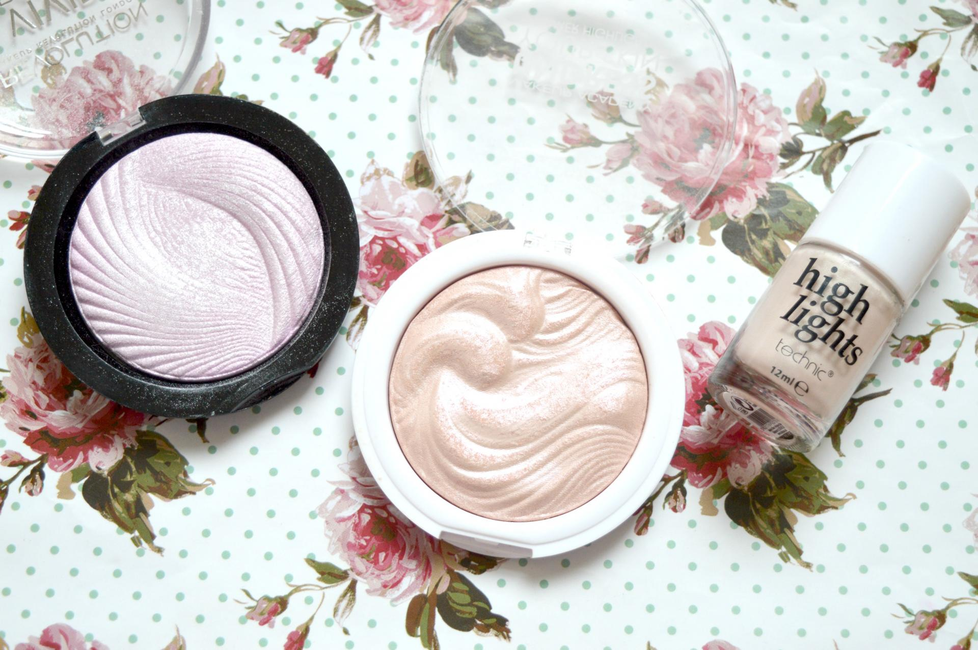 3 Great Highlighters For Less Than £5 | Makeup Revolution Vivid Baked Highlighter in Pink Lights, MUA Undress Your Skin Highlighting Powder in Pink Shimmer and Technic High Lights