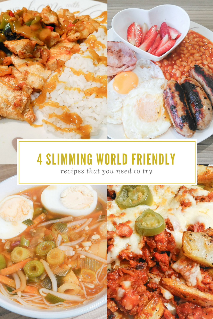 4 Slimming World Friendly Recipes That You Need To Try | Salt and chilli chicken with Chinese style curry sauce and boiled rice, a healthy fried English breakfast, Veggie Ramen Style Soup with a slight kick and Nacho-style feast.