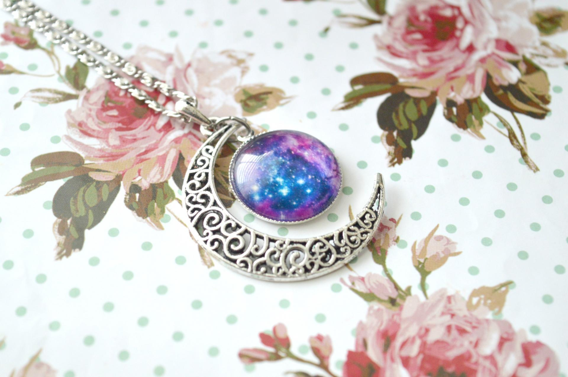 Galaxy Moon Necklace Giveaway