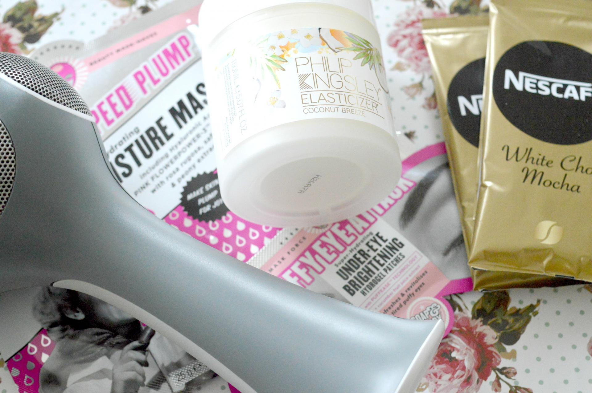 June 2017 Favourites | Tria Beauty Hair Removal Laser, Soap and Glory Miracle Moisture Mask, Soap and Glory Puffy Eye Attack Under-Eye Brightening Hydrogel Patches, Philip Kingsley Coconut Breeze Elasticizer and Nescafe Gold White Choc Mocha