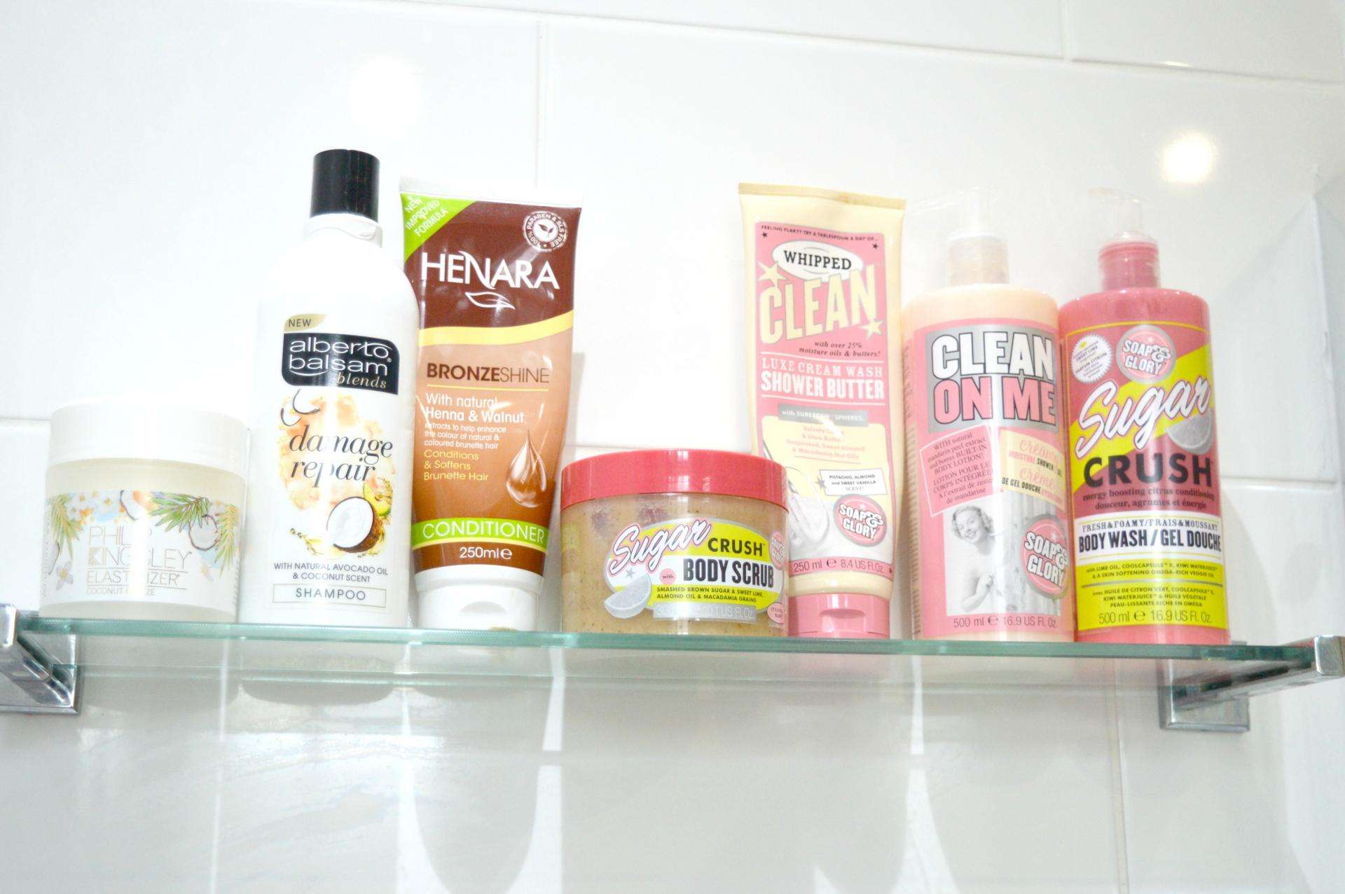 7 Brilliant Products That Are In My Shower: Philip Kingsley Coconut Breeze Elasticizer, Alberto Balsam Damage Repair Shampoo, Henara Bronze Shine Conditioner, Soap and Glory Sugar Crush Body Scrub, Soap and Glory Whipped Shower Butter, Soap and Glory Clean On Me Shower Gel and Soap and Glory Sugar Crush Shower Gel