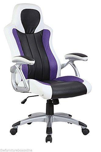 LUXURY Leather SPORTS RACING Office Desk Swivel Gaming Computer Chair White Purple Black
