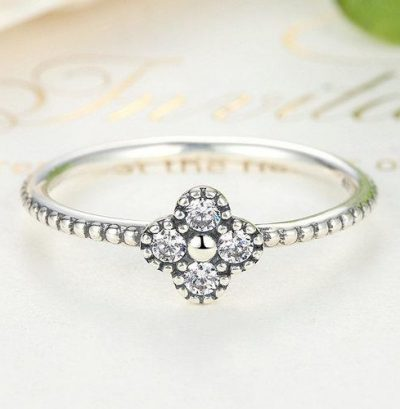 Sterling Silver Pink & White Clear CZ Romantic Clover Ring
