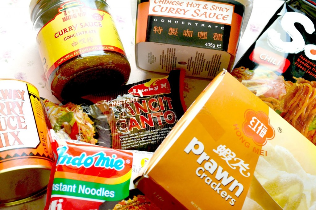 Tradewinds Oriental Shop Haul | Wing Yip Curry Sauce Concentrate, Goldfish Chinese Hot and Spicy Curry Sauce, Maykway Hot Curry Sauce Mix, Nissin Soba Chili Noodles, Indomie Mi Goreng Pedas Noodles, Lucky Me Hot Chili Flavour Noodles and Hai Long Prawn Crackers