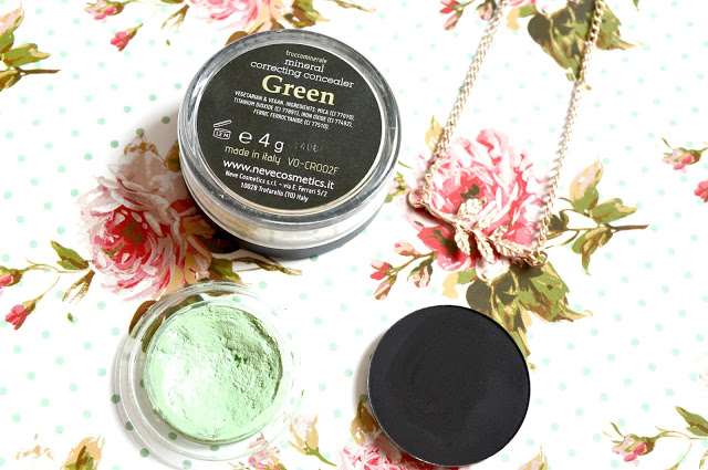 May 2015 Favourites | Neve Cosmetics Mineral Correcting Concealer in Green, Veil Cover Cream in Green, Neve Cosmetics Single Eyeshadow in Black Sheep and the Dreams and Sparkles Gold Coloured Leaf Necklace