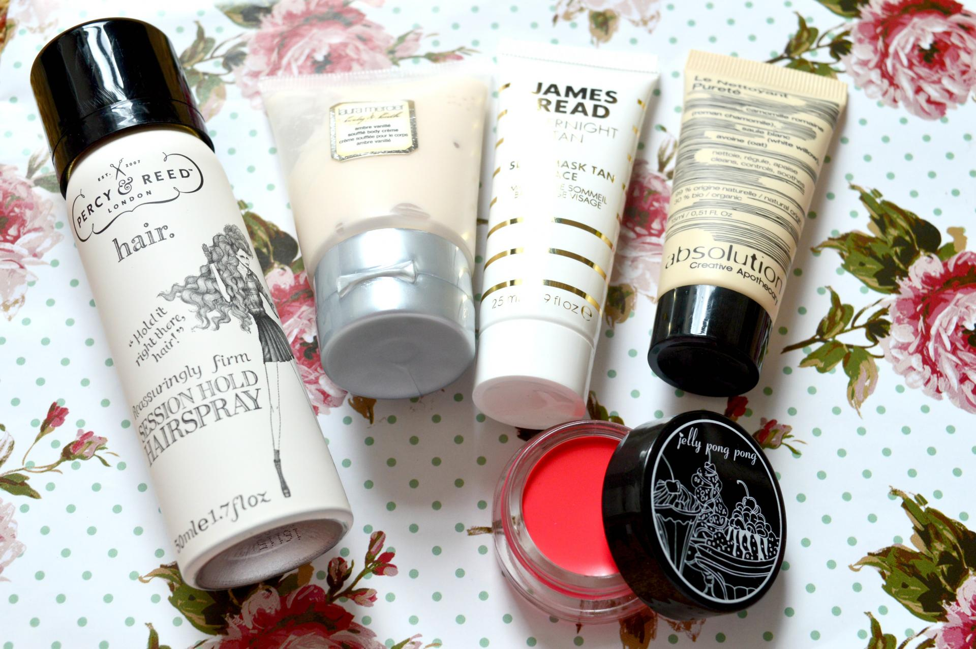 Birchbox June 2016 | Percy and Reed Reassuringly Firm Session Hold Hairspray, Laura Mercier Souffle Body Creme in Ambre Vanilla, James Read Overnight Tan Sleep Mask Tan Face, Absolution Le Nettoyant Purete and Jelly Pong Pong Paradise Pigment in Cake Pop
