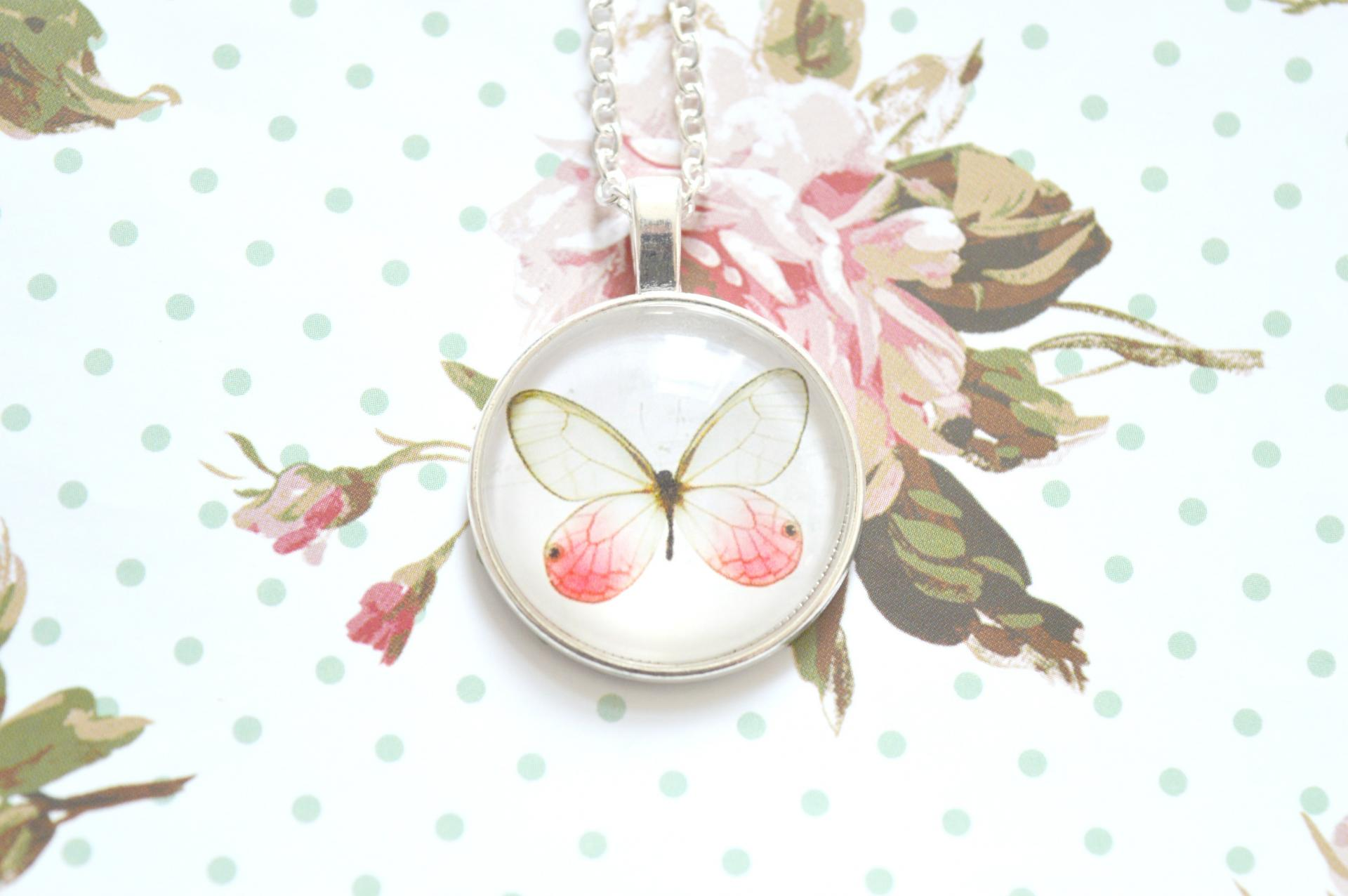 Silver Butterfly Glass Necklace Giveaway