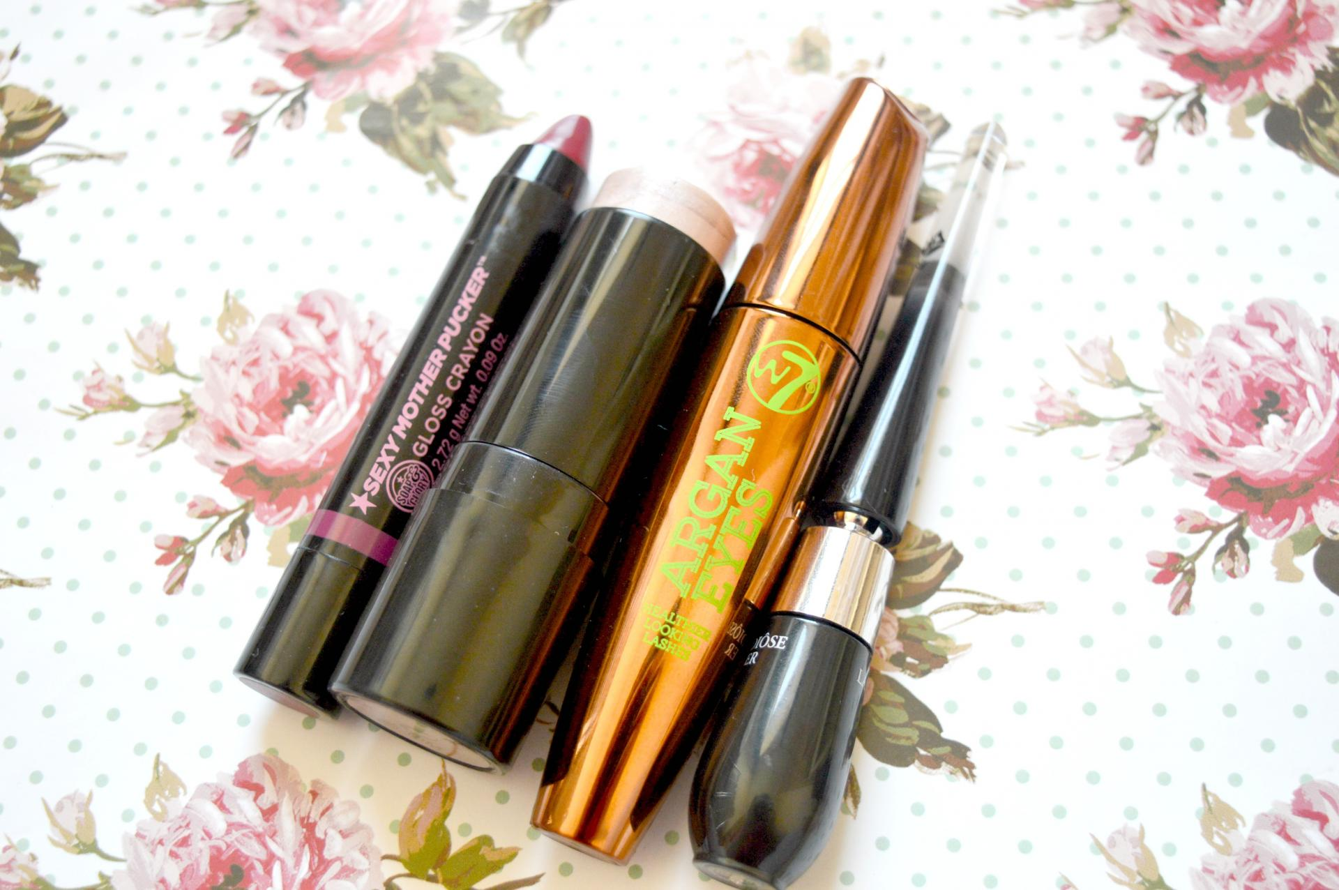 July 2016 Favourites | Soap and Glory Sexy Mother Pucker Gloss Crayon in Raplumzel, Soap and Glory Glow All Out Highlight and Sculpt Cheek Stick, W7 Argan Eyes Mascara and Lancome Grandiose Liner