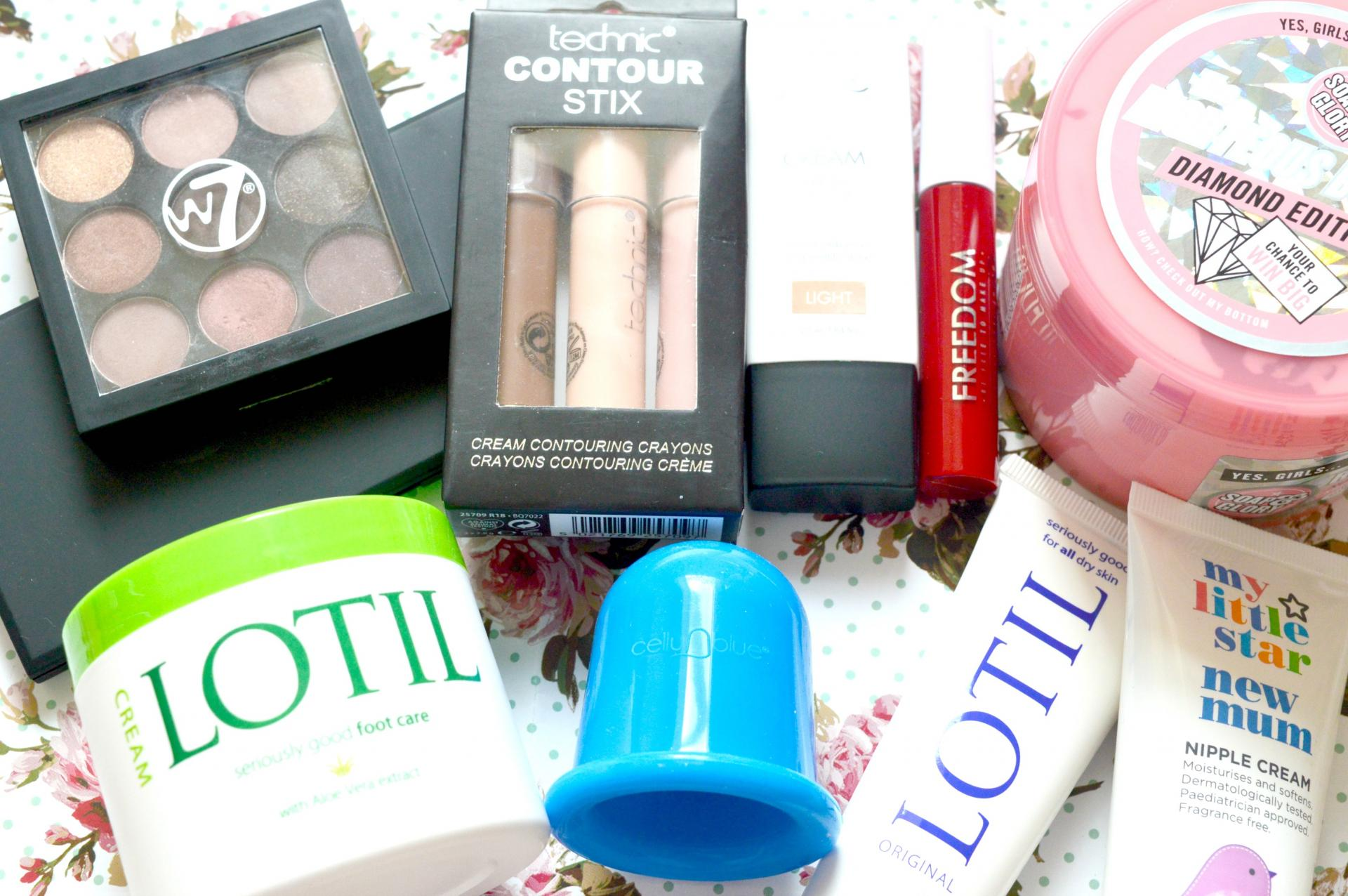 10 Newly Discovered Products I've Recently Tried | W7 The Naughty Nine Mid Summer Nights, Technic Contour Stix, Sleek Enchanted Forest Palette, Sleek CC Cream in Light, Freedom Pro Melts Lipgloss in Jammy Dodger, Soap and Glory Diamond Edition Righteous Butter, Lotil Original, Lotil Foot Care Cream, CelluBlue and Superdrug My Little Star New Mum Nipple Cream