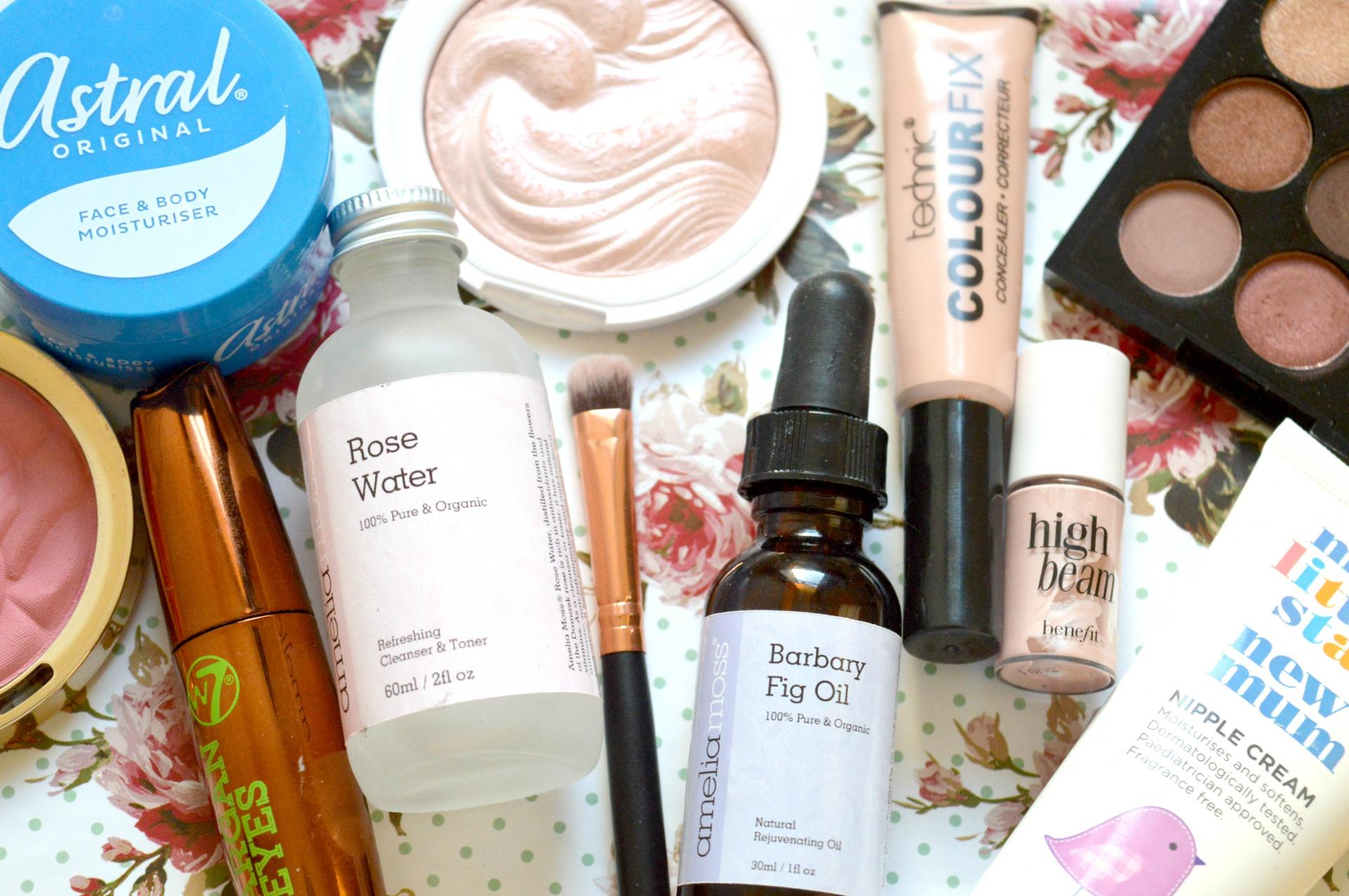 2016 Favourites | Astral Face and Body Moisturiser, Amelia Moss Rose Water, Amelia Moss Barbary Fig Oil, Superdrug My Little Star New Mum Nipple Cream, W7 Argan Eyes Mascara, Technic Colour Fix Concealer, Benefit High Beam, Milani Rose Blush in Tea Rose, MUA Undress Your Skin Highlighting Powder in Pink Shimmer, W7 The Naughty Nine Mid Summer Nights palette and Large Affordable AliExpress Eyeshadow Brush