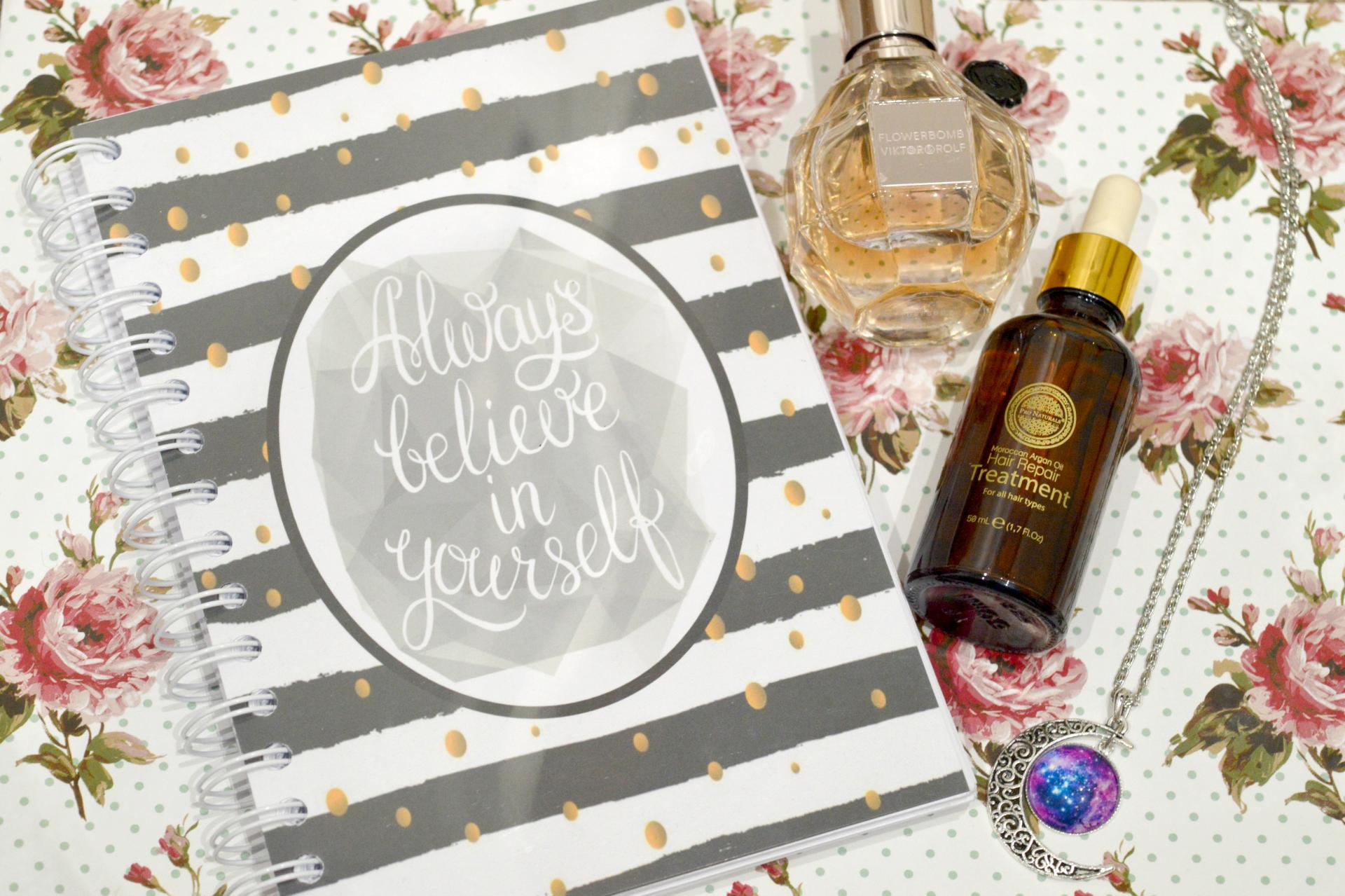January 2017 Favourites | Always Believe In Yourself Slimming World Planner, Viktor and Rolf Flowerbomb Eau De Parfum, Pro Naturals Moroccan Argan Oil Hair Repair Treatment and Galaxy Moon Necklace