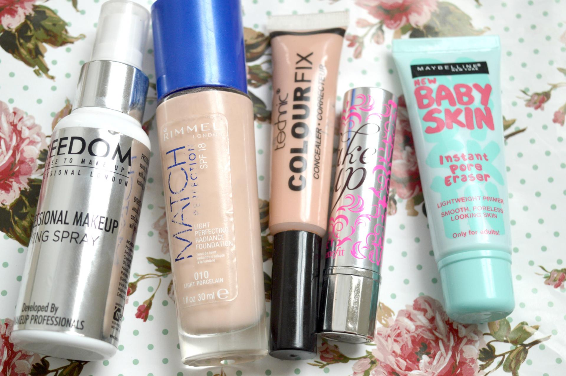 5 Fantastic Complexion Products That I Always Reach For | Freedom Professional Makeup Fixing Spray, Rimmel Match Perfection Foundation, Technic Colour Fix Concealer, Benefit Fakeup Concealer and Maybelline Baby Skin Instant Pore Eraser Primer