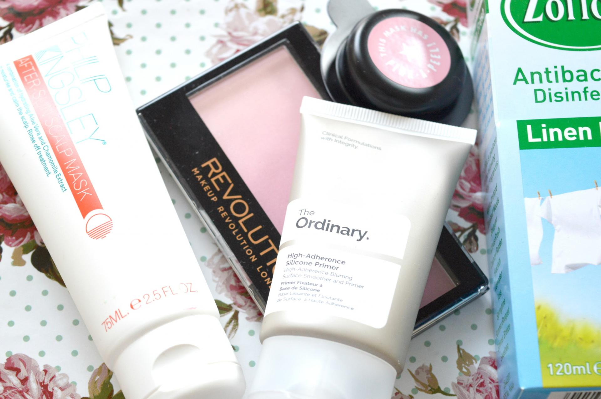 July 2017 Favourites | Linen Fresh Zoflora, Soap and Glory What A Peeling De-Clog Mask, Makeup Revolution Gradient Highlighter in Peach Mood Lights, Philip Kingsley After-Sun Scalpmask and The Ordinary High-Adherence Silicone Primer