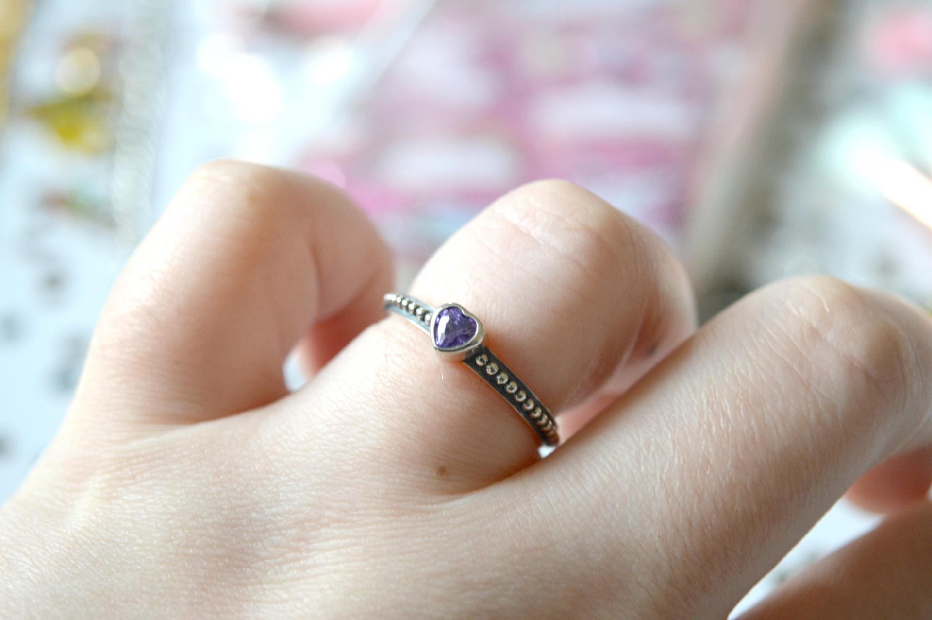 AliExpress Puple Heart Pandora Dupe Ring