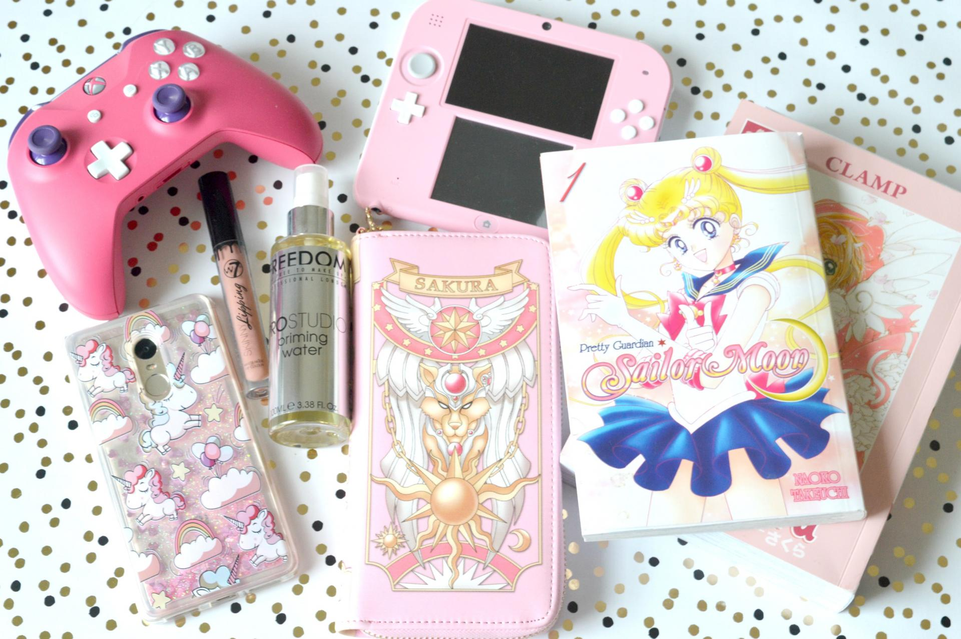 January 2018 Favourites | Sailor Moon, Cardcaptor Sakura, Nintendo DS, Pink Xbox One Controller, W7 Matte Lipstick, Makeup Revolution Setting Spray and AliExpress Falling Glitter Phone Case