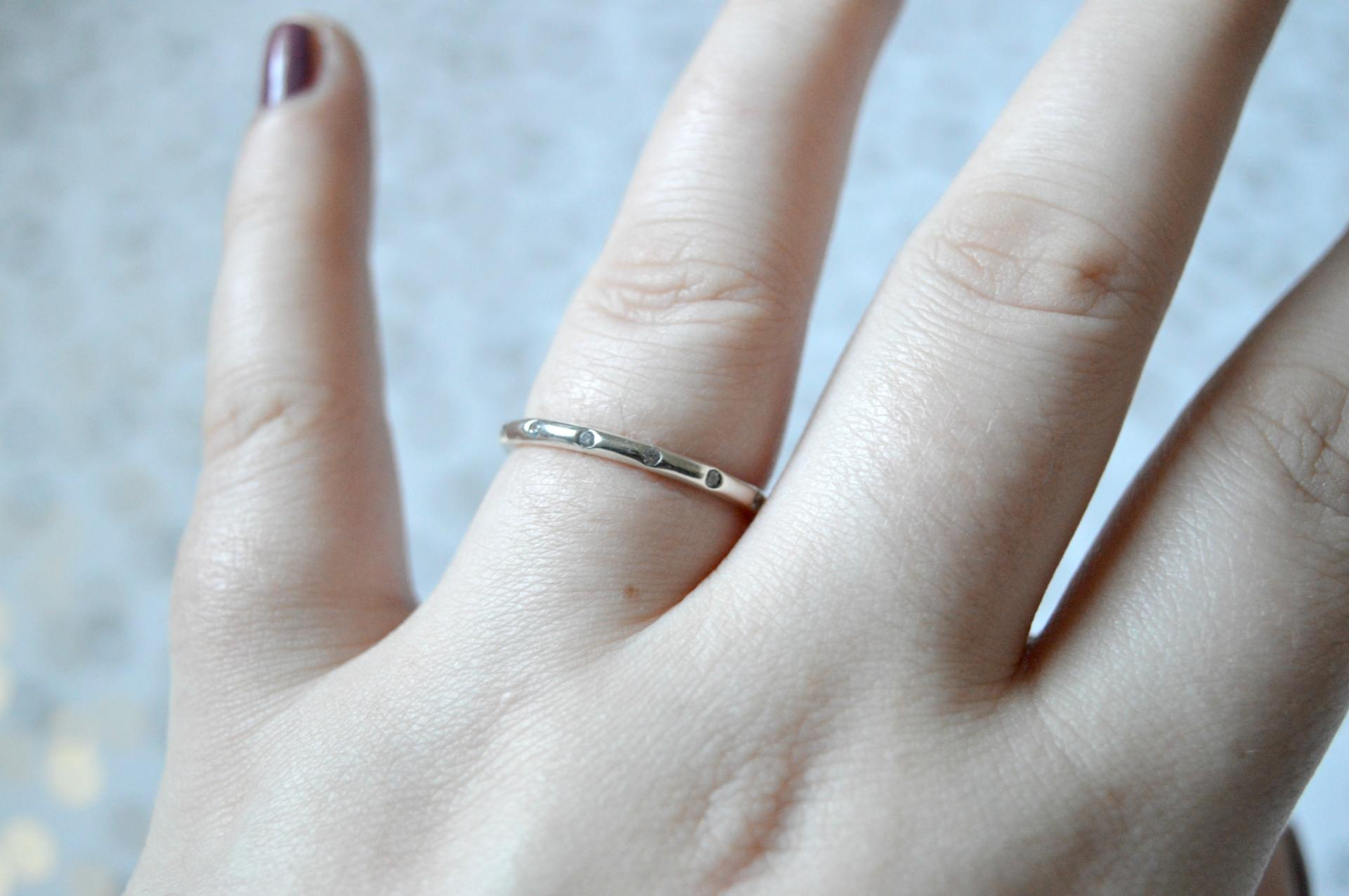 bamoer Stackable Cubic Zirconia Band Ring from AliExpress