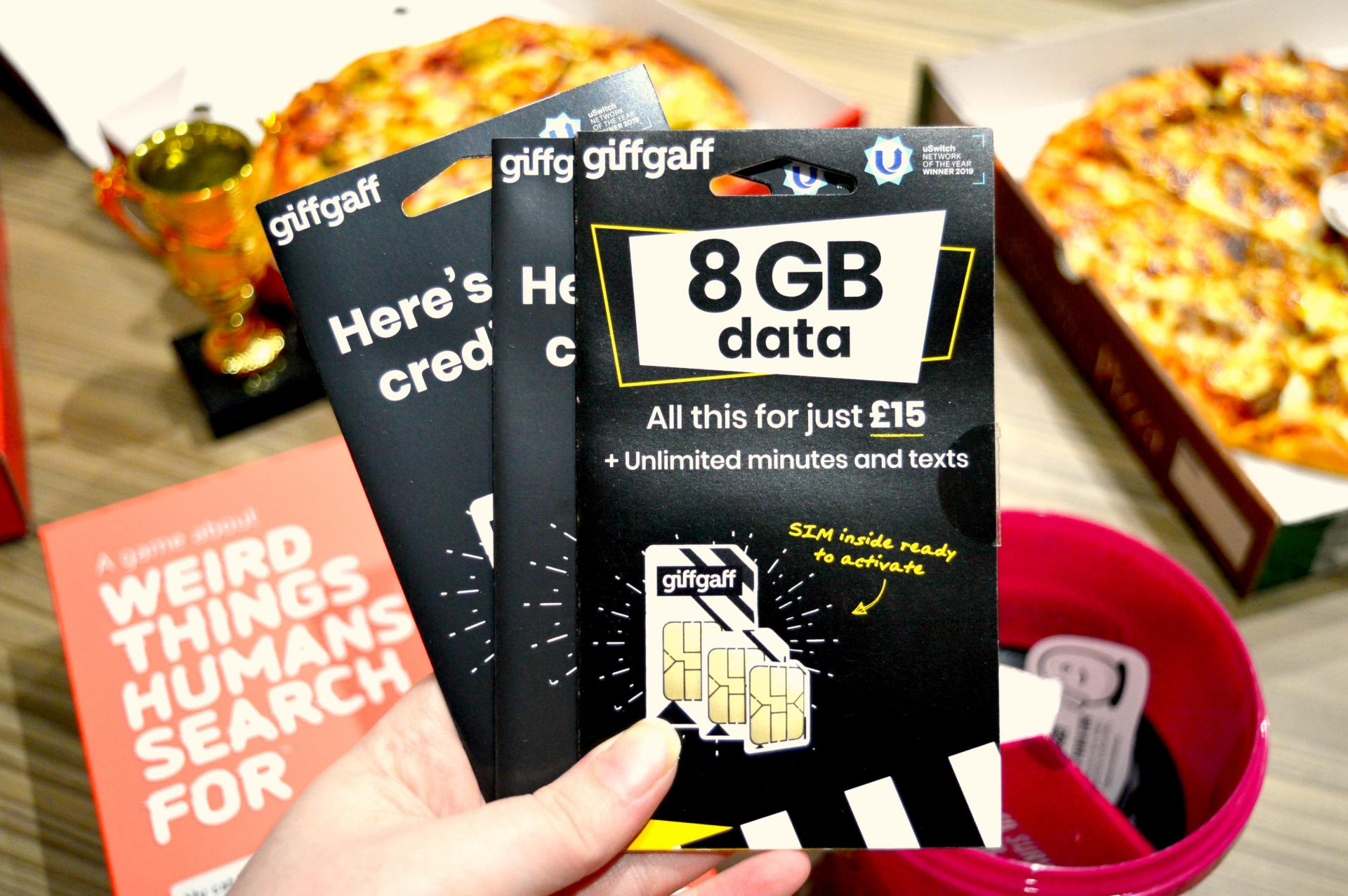 This is an image of giffgaff SIM cards which were kindly gifted to me as part of the #giffgaffgamers campaign.